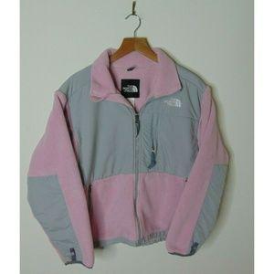 North Face M Denali Fleece Jacket Gray Pink Zip